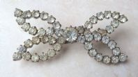 Vintage Clear Rhinestone Studded Butterfly 50's Brooch